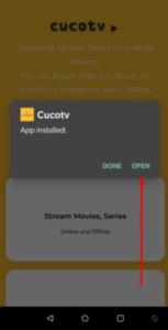 Open Installed CucoTV App